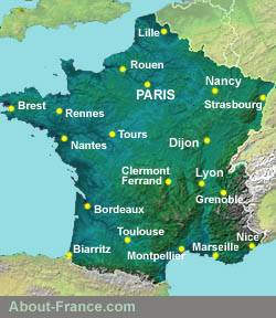 Map Of France With City Names.About France Com Site Index Site Map