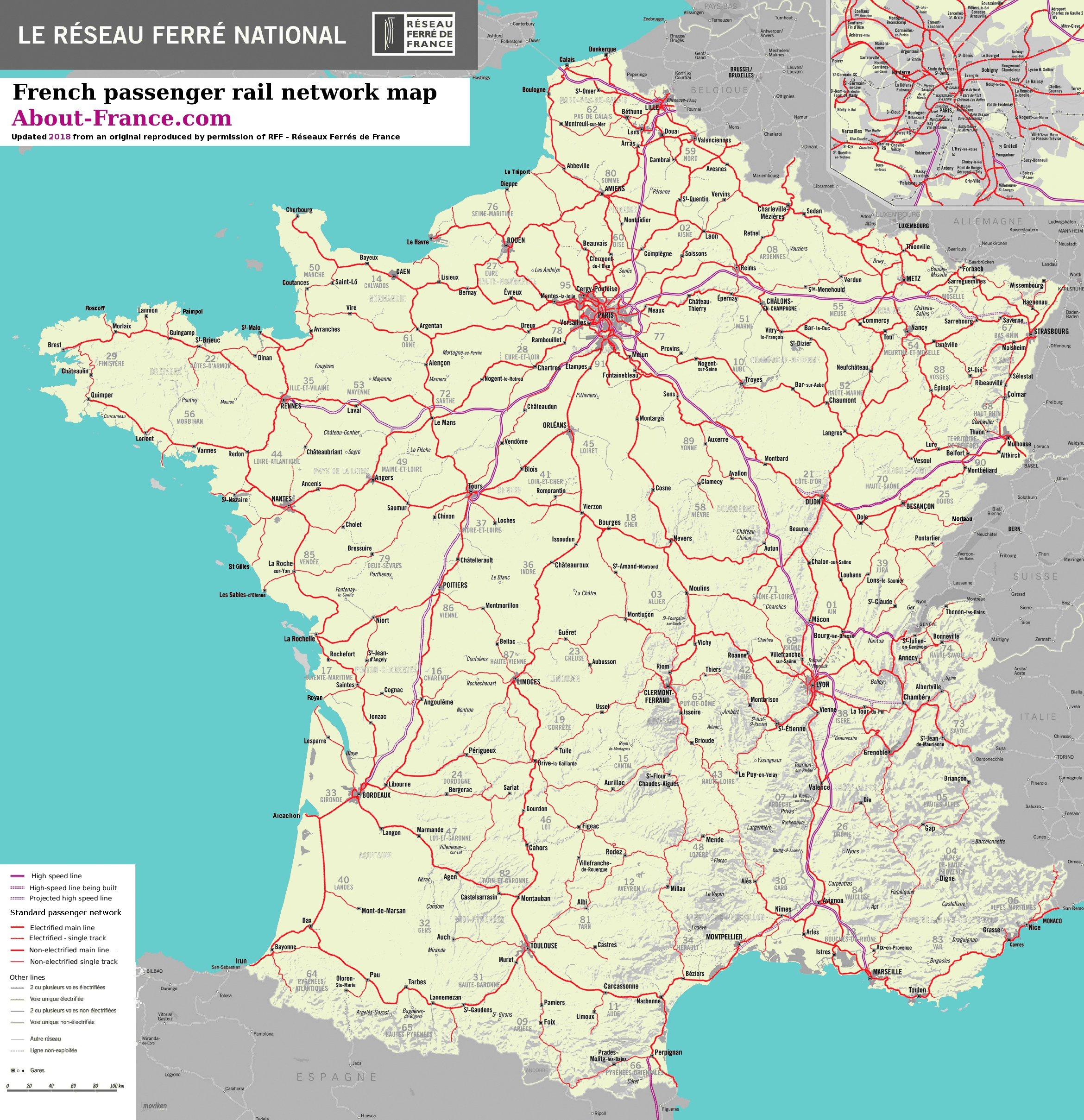 Map Of France Rail System.High Resolution French Rail Network Map