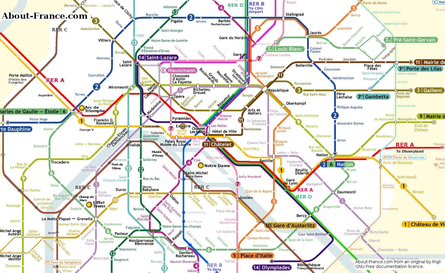 Central Paris metro map AboutFrance – Map Paris Tourist Attractions