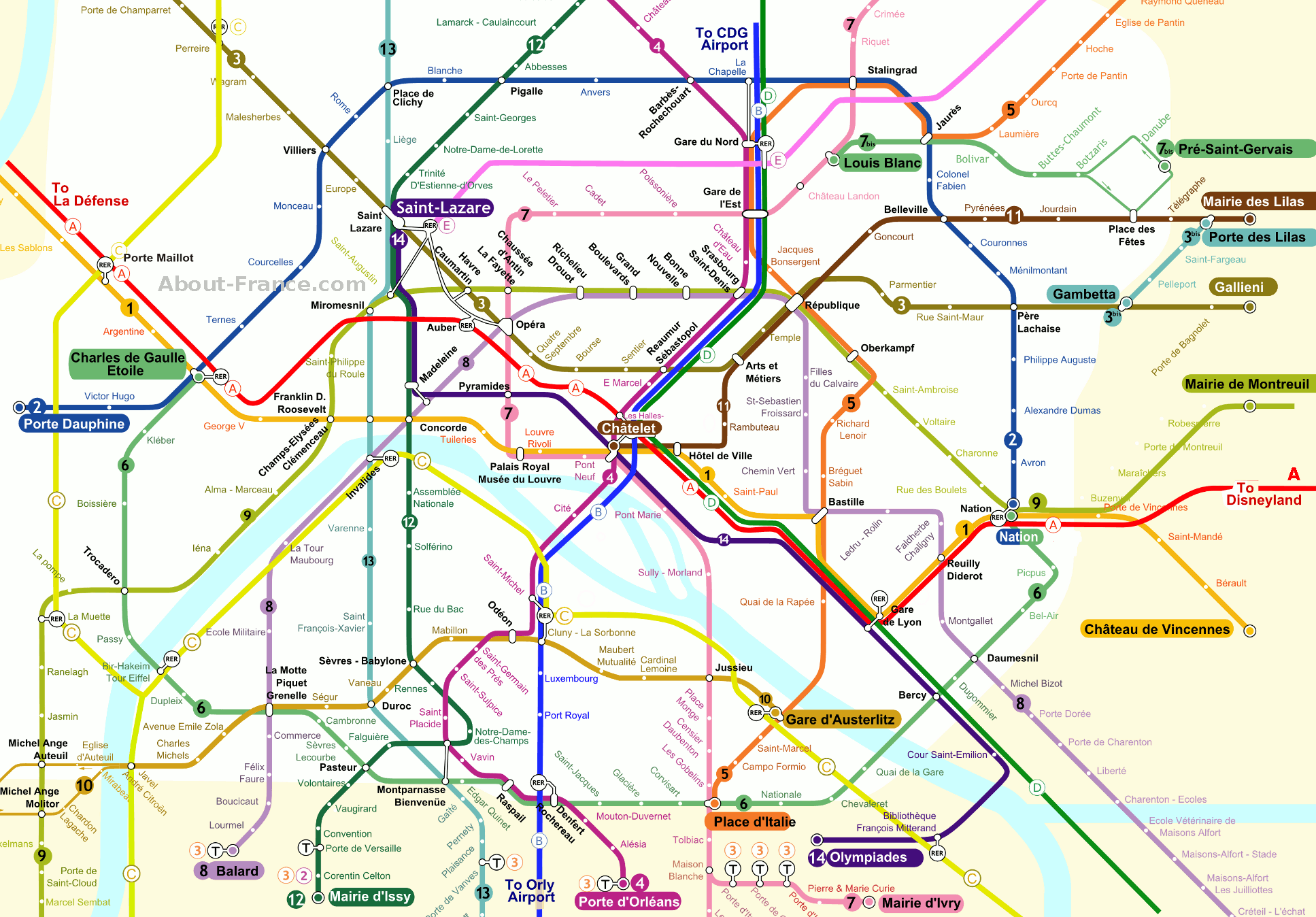 this map only shows the central area of paris it includes the principal tourist attractions map key numbers 1 to 14 designate traditional metro subway