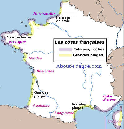 Map of French coast