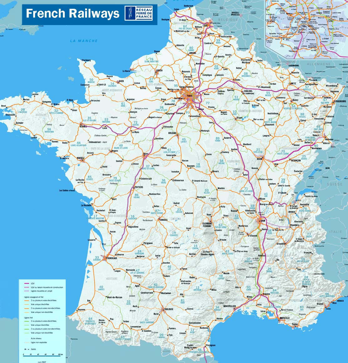 {AboutFrance travel Detailed map of the French rail network – Train Travel In France Map