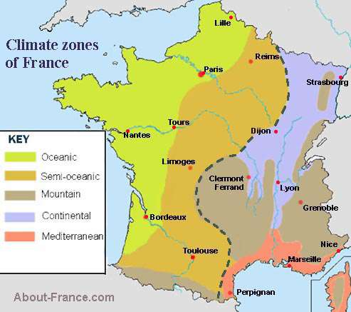 Map Of France Weather.Climate Map Of France About France Com