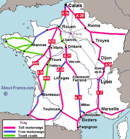 French A26 motorway route guide