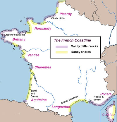 Map Of Northwest France.The French Coast And The Beaches Of France A Guide