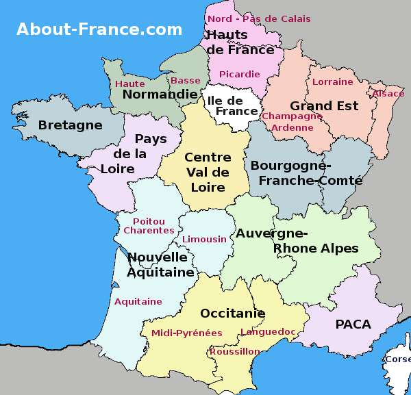 France regions map AboutFrancecom