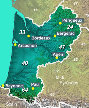 Regional Map Of France In English.Old Aquitaine Information And Tourist Attractions