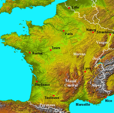 Physical Map Of France Physical map of France   topography   About France.com Physical Map Of France