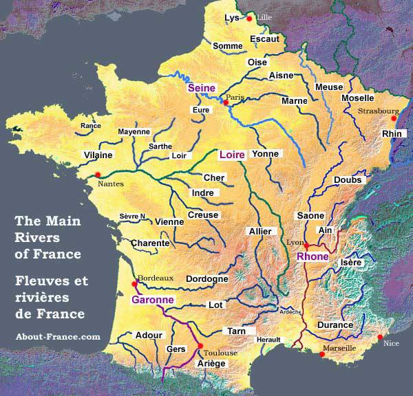 Map 0f South Of France.Map Of The Rivers In France About France Com