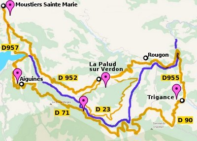 Map of the Verdon Gorge