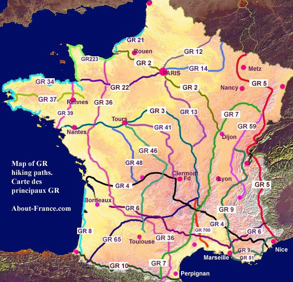 Map of long-distance footpaths - carte des sentiers GR