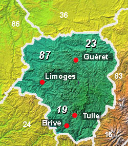 Limousin Area Guide And Tourist Attractions - Limoges france map