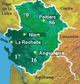 Map of Poitou Charentes region