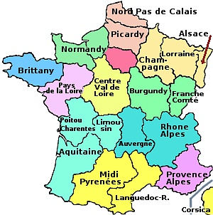 Map Of France With States.The Regions Of France