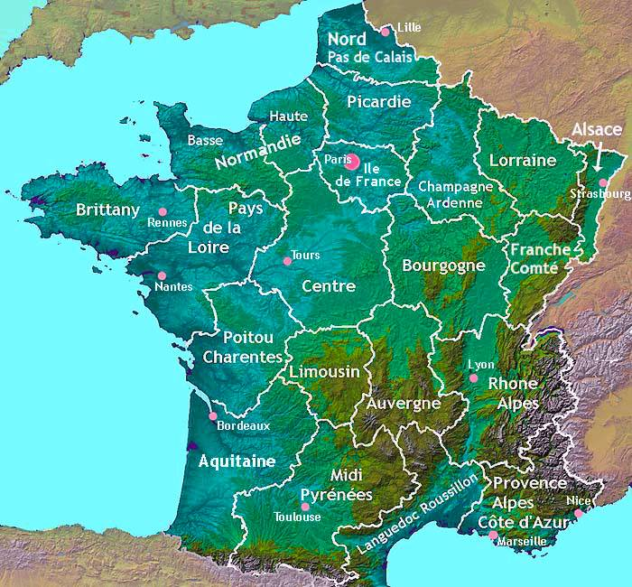 Regional map of France AboutFrancecom