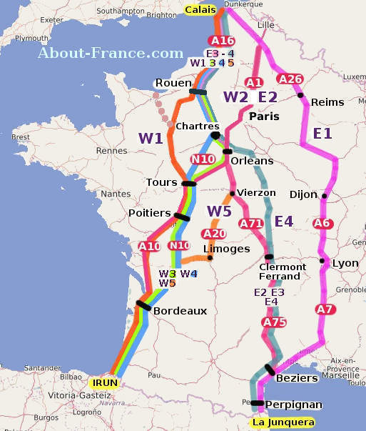 Driving Through France To Spain - Map of france and spain