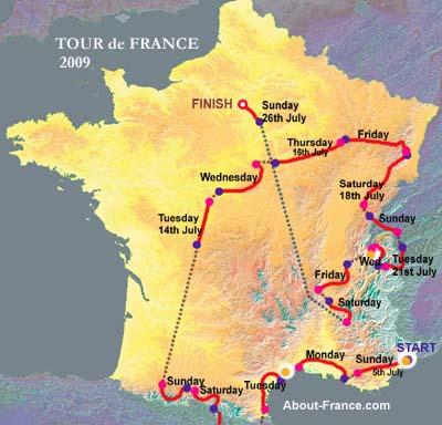 tour de france. Tour de France route map 2009