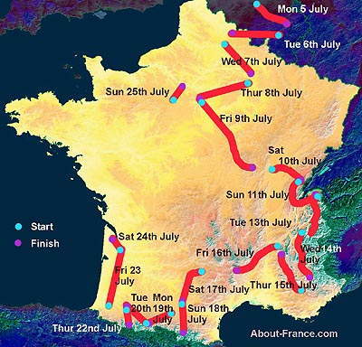 Tour de France route map 2010