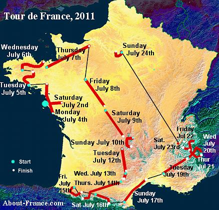 The Tour de France 2011 in English route and map