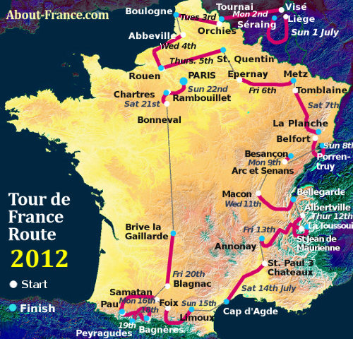 The Tour de France 2012 in English route and map