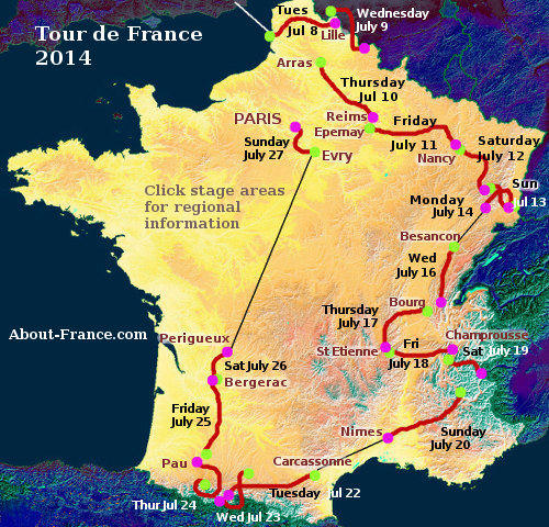The Tour de France 2014 in English - route and map