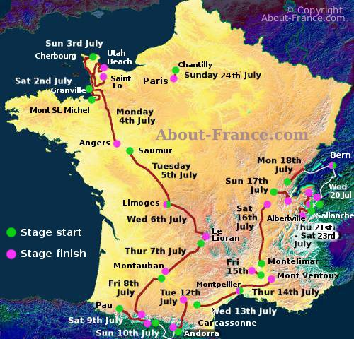 The Tour De France In English Route And Map - Paris map 2016