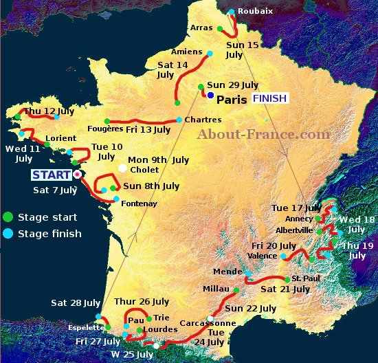 The Tour de France 2018 in English   route and map