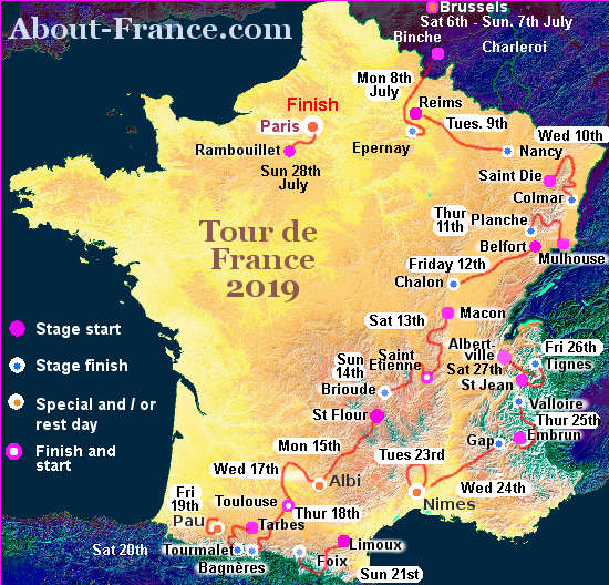 The Tour de France 2019 in English   route and map