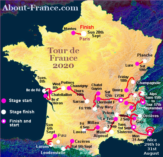 The Tour De France 2020 In English Route And Map