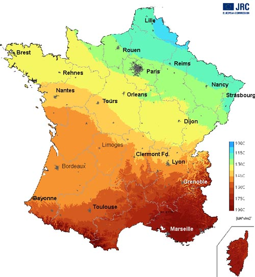 Rennes Map Of France.Solar Radiation Map Of France About France Com