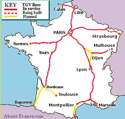 Map of France's TGV lines