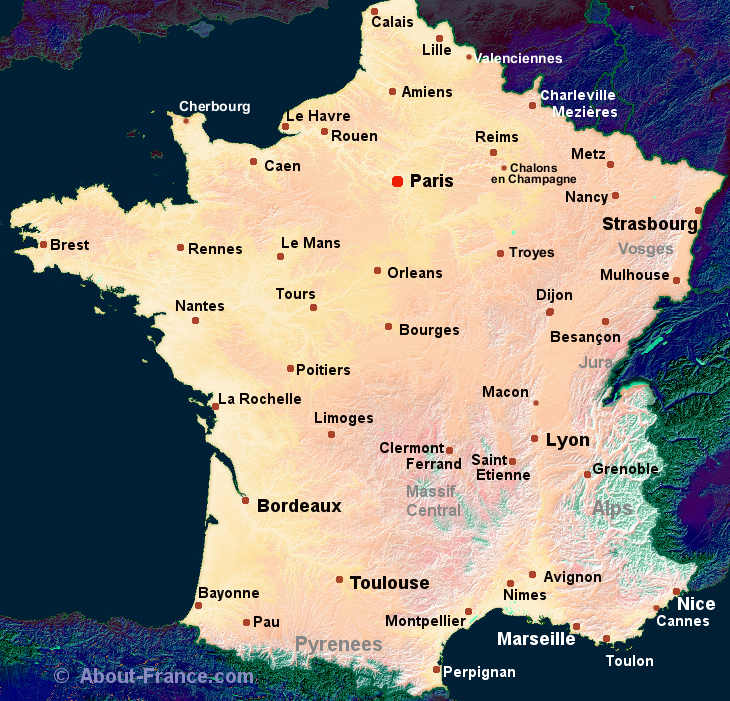 Map Of France With City Names.Maps Of France