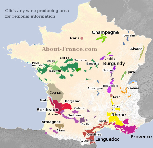 French Wine Regions Map Map of French vineyards   wine growing areas of France French Wine Regions Map