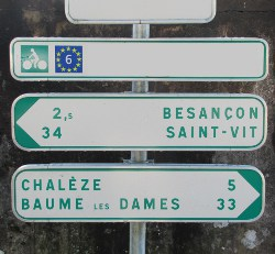 Sign on Euro Veloroute