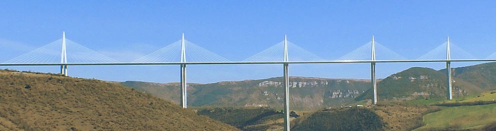 The Millau viaduct A75 motorway bridge over the river Tarn