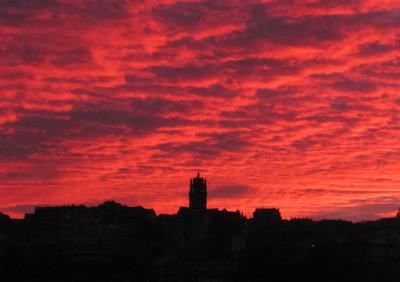 Sunset over old Rodez