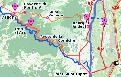 Map of the Ardeche Gorge