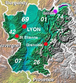 Map of the Rhone-Alpes region